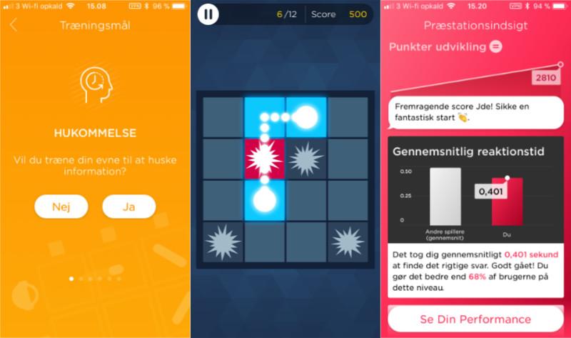 Eksempler fra hjernegymnastik appen Peak